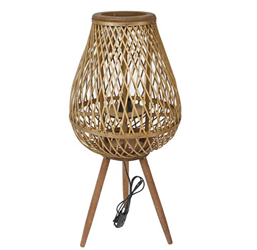 thesecrethome.es LÁMPARA RÚSTICA DE BAMBÚ   Bambú Natural   Decoración mediterránea para casa y jardín (Diámetro 35 x Altura 78 cm)