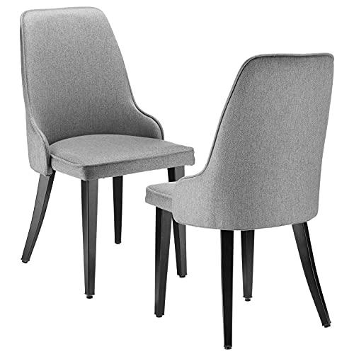 BlueOcean Furniture Set di 2 sedie da cucina imbottite per sala da pranzo, salotto, salotto, sala per il tempo libero, sedia in lino con schienale per camera da letto, comode sedie per casa, grigio