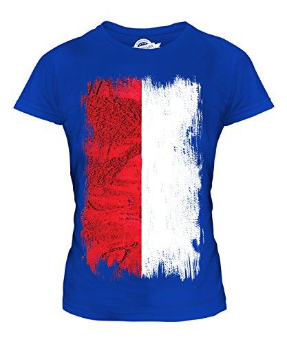Candymix Polen Grunge Flagge Damen T Shirt, Größe 2X-Large, Farbe Königsblau