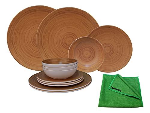 HEKERS Vajilla de 100 % melamina, aspecto de bambú, juego de 12 piezas, para 4 personas, 1 paño de microfibra de Hekers verde, para exteriores, picnic, camping, apto para lavavajillas