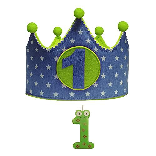 Kembilove Corona + Vela Primer Cumpleaños – Corona de Cumpleaños para Niño y Niña – Algodón y Fieltro de Máxima Calidad – Ideal para Fotos y Fiestas de Cumpleaños – Estrellas vaquero - verde