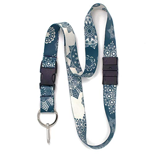 Buttonsmith Denim Lace Breakaway Lanyard - with Buckle and Flat Ring - Made in The USA