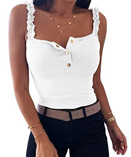 Ybenlover Tops mujer elegante sin mangas verano cuello en V blusa T camisa, Blanco, M
