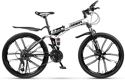 WANGCAI MTB 21 Velocidad Bicicleta Plegable de 26 Pulgadas y 10 Rayos Ruedas Suspensión de Bicicletas Hombres Mujeres Ciudad de cercanías Bicicletas, Perfecto for Carretera o Suciedad Touring Trail