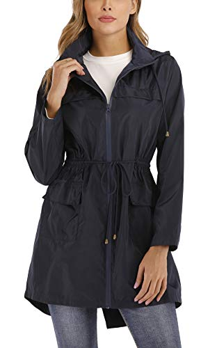 MISS MOLY Regenjacke Damen Wasserdicht Lang Übergangsjacken Regenmantel Windbreaker Atmungsaktiv mit Kapuze Navyblau Small