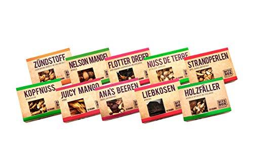 BiteBox Vegan Set | Snack Geschenkbox | Premium Nüsse und Trockenfrüchte | 10 gesunde und leckere Snacks | Nuss und Frucht Mixe | Geeignet für Veganer