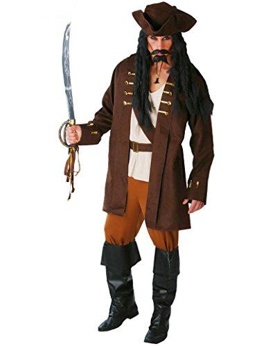 GUIRCA SL.- Costume Corsaro, Jack Sparrow, Pirati dei Caraibi per Adulti, Marrone, 48/52, 80512