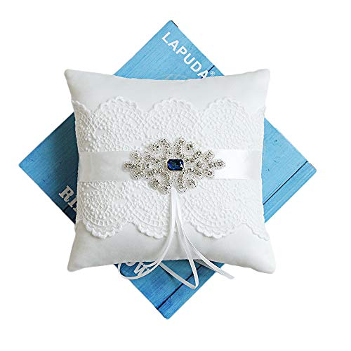 LAPUDA Ring Pillow with Sapphire Retro Ring Pillow for Wedding 7.5 inch Ivory.