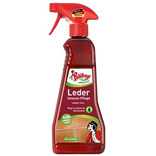 Poliboy - Leder Intensiv Pflege - Sprühmatic Flasche - reinigt, pflegt und schützt alle Glattleder - Imprägnierer - Einzeln - 375ml - Made in Germany