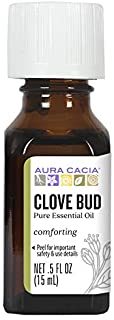 Aura Cacia 100% Pure Clove Bud Essential Oil | GC/MS Tested for Purity | 15 ml (0.5 fl. oz.) | Syzygium aromaticum