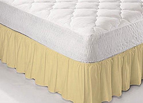 Textile.Plus - Mantovane per giroletto in policotone, decorazioni per base del materasso o federe copricuscino, 50% cotone/50% poliestere/ in cotone/misto-cotone/poliestere, Latte, Super King
