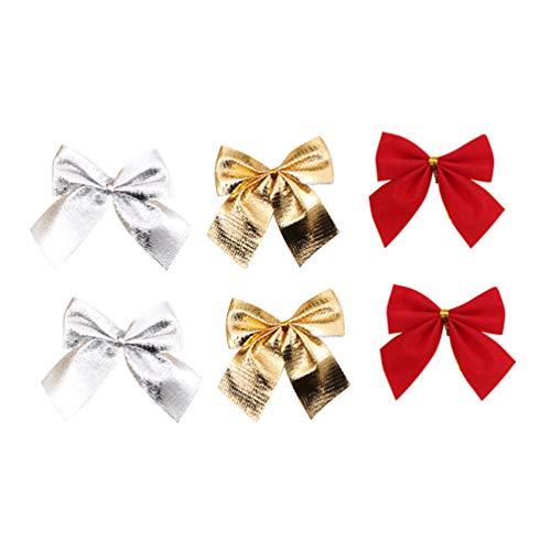 Amosfun 72 piezas de adornos de lazo de Navidad para árbol de Navidad, accesorios para el pelo para Navidad, fiestas, color rojo, dorado y plateado