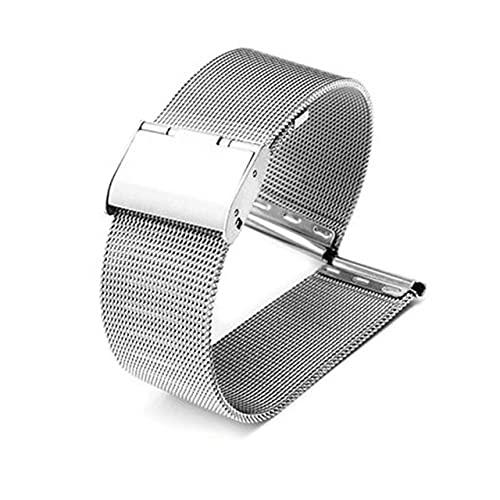 Reloj de reloj 12mm 14mm 16mm 18mm 20 mm 22 mm 24mm Universal Acero inoxidable Metal Reloj de metal Correa Pulsera Black Rose Gold (Band Color : Silver, Band Width : 20mm)