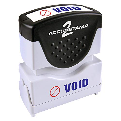 "ACCU-STAMP2 Message Stamp with Shutter, 2-Color, VOID, 1-5/8"" x 1/2"" Impression, Pre-Ink, Blue and Red Ink (035539)"