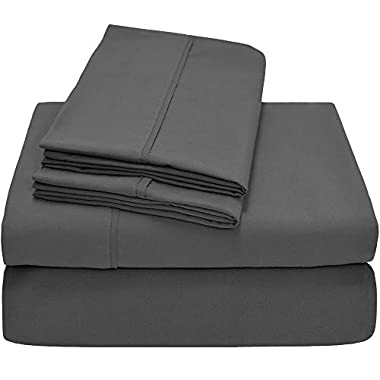 Bare Home Premium - Queen Size Sheets - 1800 Ultra-Soft Microfiber Collection Sheet Set - Double Brushed - Hypoallergenic - Wrinkle Resistant - Deep Pocket (Queen, Grey)