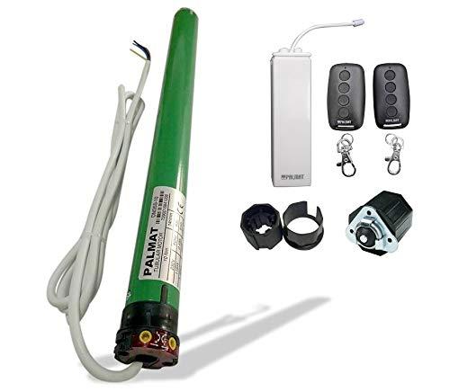 PALMAT - Motor tubular para persiana - Incluye 2x transmisores inteligentes para el control de entrada, 1x Receptor inalámbrico RF 433, Ideal para cortinas y toldos (SW 40, Fuerza de tracción 30 Kg)