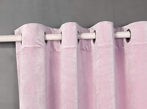 PimpamTex Cortina Terciopelo Opaca térmica Aislante para salón Dormitorio y habitación, con 8 Ojales, 1 Unidad 140 x 260 cm, Modelo Terciopelo Color Rosa Palo