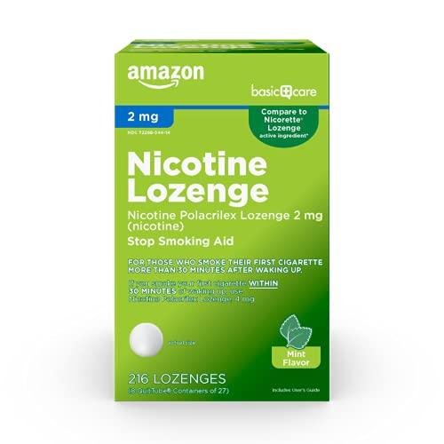 Amazon Basic Care Nicotine Polacrilex Lozenge 2 mg, Mint Flavor, Stop & Quit Smoking Aid, 216 Count