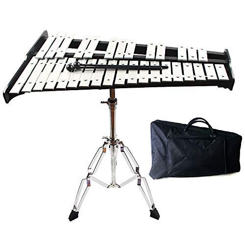 Volwco Glockenspiel Xilófono de 32 notas, profesional Glockenspiel instrumento musical de percusión con soporte, mazos y bolsa resistente, para niños educativo/principiante/regalo de cumpleaños