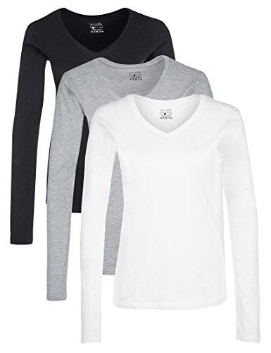 Berydale Damen Langarm-Shirt mit V-Ausschnitt aus 100 % Baumwolle, 3er Pack, Schwarz/Weiß/Grau, 2XL