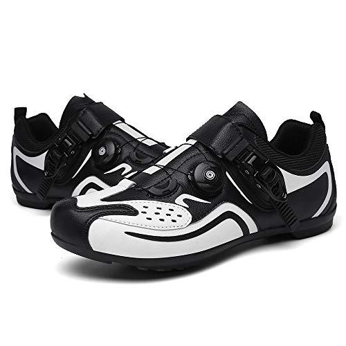 JQKA Zapatos De Ciclismo De Montaña Zapatos De Bicicleta De Campamento Ligero Pedal De Bloqueo Antideslizante para Hombres Hebilla Asistida(Size:39,Color:Negro)