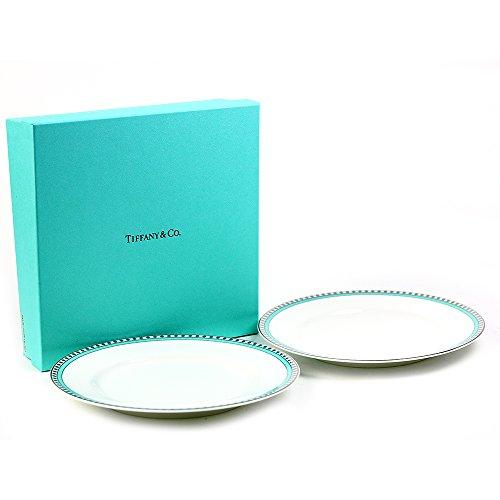 ティファニー TIFFANY&Co プレート ペアプレート プラチナ ブルー バンド デザートプレート お皿 食器