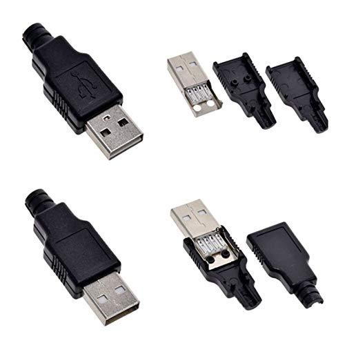 LF_FFa 5pcs USB 2.0 Tipo A Macho Hembra USB de 4 Pines del zócalo del Enchufe del Conector Cubierta con Negro plástico del Tipo A-Kits DIY (Color : Male, tamaño : 1pcs)
