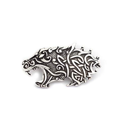 SanLan Celtic Wolf Head Viking Brooch Lapel Pin Men Brooch Vintage Brooches for Men Norse Jewelry (Style 2)