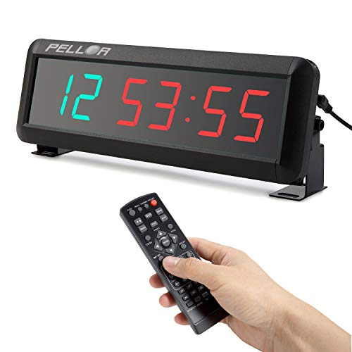 PELLOR Temporizador con Pantalla LED, Reloj de Pared 6 Dígitos LED Temporizador de Intervalos, Reloj en Tiempo Real de 12/24 Horas, Gym Temporizador con Mando a Distancia (Volumen Ajustable)