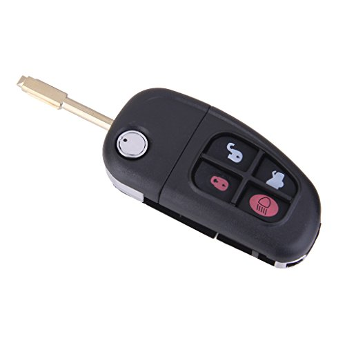 IPOTCH Llave de Puerta de 4 Botones, Hoja Sin Cortar, Carcasa de Fob DIY para Jaguar X Tipo S Tipo XJ