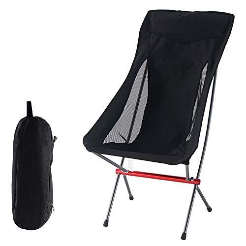 Sillas al aire libre plegables, sillas de aluminio portátiles al aire libre, sillas de camping ultraligero, sillas de playa, mochilas, sillones de viajes y ocio, muebles de jardín ( Color : Negro )