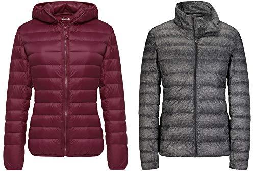 Wantdo Women's Hooded Packable Short Down Jacket Wine Red M+Wantdo Women's Ultra Light Weight Short Down Jacket Dark Grey M
