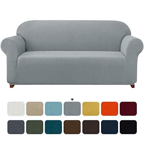 subrtex Sofabezug für 4 Personen Big Sofa Stretch Sofahusse 4sitzer Elastisch überzug für XL Sofa mit Armlehne Abwaschbar (4 Sitzer, Hellgrau)