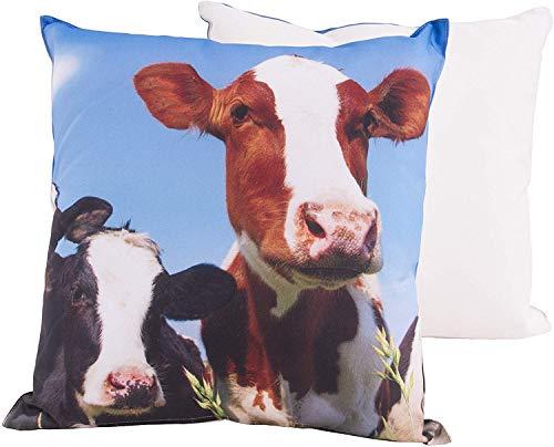 CB Home & Style Outdoor Garten Kissen Wasserabweisend 45 x 45 cm Dekokissen Tiere Schafe Kühe (KuhGerdaDes4)