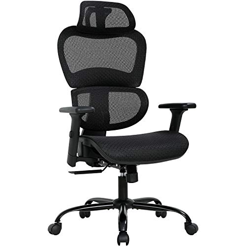 Home Office Chair Mesh Desk Chair Ergonomic Computer Chair with 3D Arms Back Lumbar Support Swivel Rolling Task Chair for Men Adults(Black)