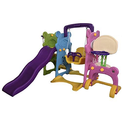 ATAA Box 5 in 1 per bambini 5 in 1, con due canestri, porta da calcio, altalena e scivolo