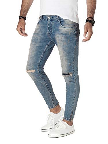 PITTMAN Jeans Skinny Fit M426 - Zerrissene Jeans Herren - Blaue Zerrissene Hose - Stretchjeans - Enge Jeanshose Männer, Blau (Denim Blue), W32/L32