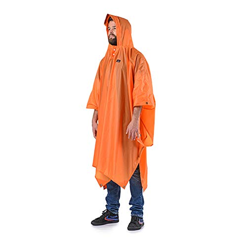 Warmth Supplies Raincoat Outdoor Poncho Wandern Regenmantel DREI-In-One Tuch Canopy Reiterreise-Lack,Orange