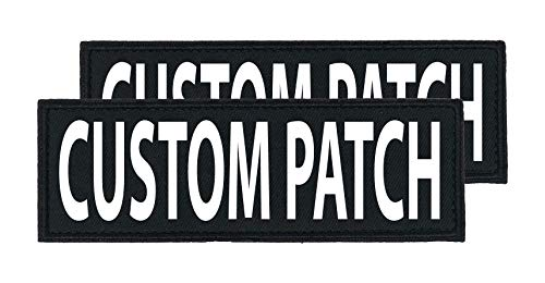 Dogline Custom Bright White Text Patch For Vest Harness Or Collar Customizable Text Personalized Patches with Hook Backing Name Service Dog In Training Emotional Support (2 patches) - 2