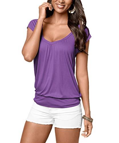 Uniquestyle Damen Sommer T-Shirt Kurzarmshirt V-Ausschnitt Lässige Stretch Falten Bluse Tops Oberteil Baumwollshirt Blickdicht (S, Lila)