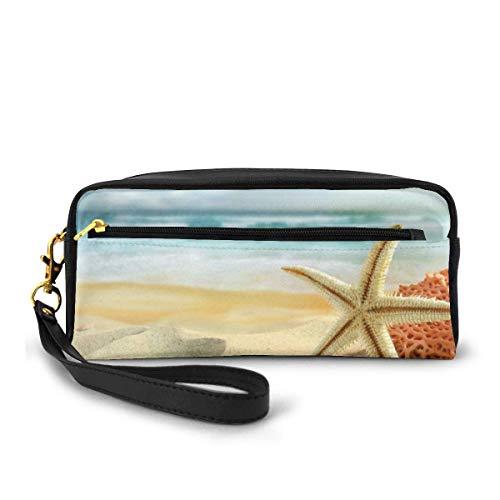 Pencil Pen Bag,Bolso De La Cremallera De La Pluma Del Mar De La Concha De La Estrella De Mar De La Playa, Bolsos Elegantes Del Maquillaje Para El Día De San Valentín Del Cumpleaños,20x5.5x8.5cm
