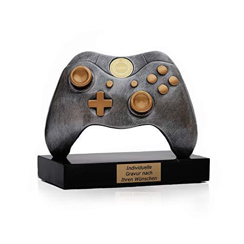 Pokal Gaming Controller mit Wunschtext - Geschenke für Männer Frauen Kinder - Award individuell und personalisierte Geschenkidee für den Gamer - Games Tisch Deko mit Emblem Champion