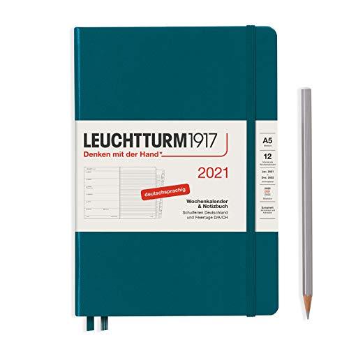 Preisvergleich Produktbild LEUCHTTURM1917 361823 Wochenkalender & Notizbuch 2021 Hardcover Medium (A5),  12 Monate,  Pacific Green,  Deutsch