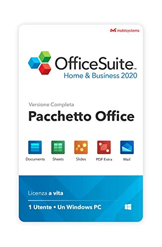 OfficeSuite Home & Business 2020 – Licenza Completa – Compatibile con Microsoft® Office Word, Excel & PowerPoint® e Adobe PDF for PC Windows 10, 8.1, 8, 7 (1PC/1User)