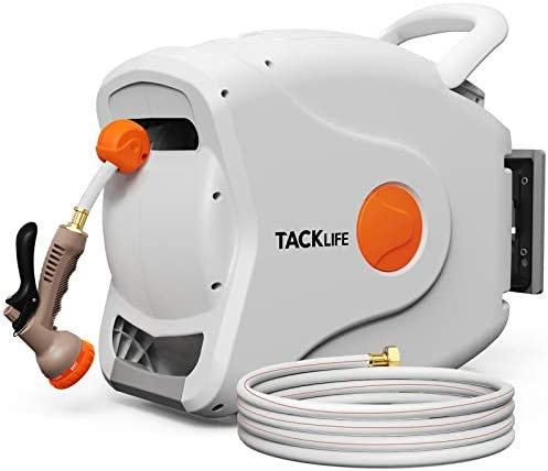 TACKLIFE Retractable Garden Hose Reel,5/8'' x 82+8 FT Wall Mounted Retractable Hose Reel, 8 Patterns Hose Nozzle/Any Length Lock/Auto Rewind/180 Degree Pivot,Garden Watering, Car Washing