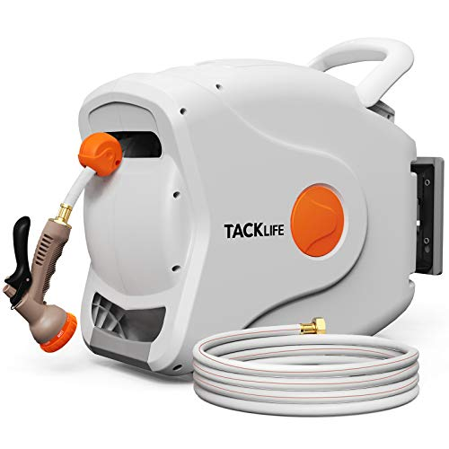 "TACKLIFE Retractable Garden Hose Reel,1/2"" x 100+6.7FT Wall Mounted Retractable Garden Hose Reel, 8 Pattern Hose Nozzle, Any Length Lock/Auto Rewind/Wall Mounted/180°Swivel Bracket"