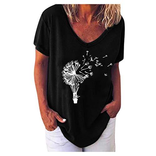 Damen T Shirts Tops V-Ausschnitt Kurzarm Blusen Lässige Shirt Oberteile Sexy Oberteil für Damen Sommer Lose Tunika Tops Bequem Elastische Sweatshirts