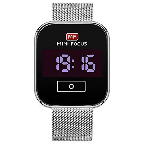 Flytise Reloj Digital para Hombre Reloj de Pulsera electrónico clásico con Calendario 3ATM Correa de Malla de Acero Impermeable