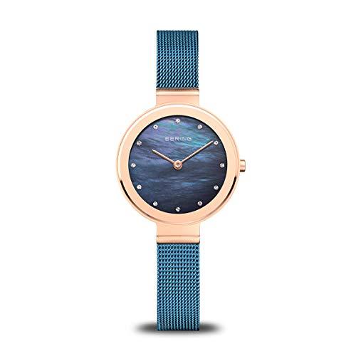 BERING Damen Analog Quarz Classic Collection Armbanduhr mit Edelstahl Armband und Saphirglas 10128-368