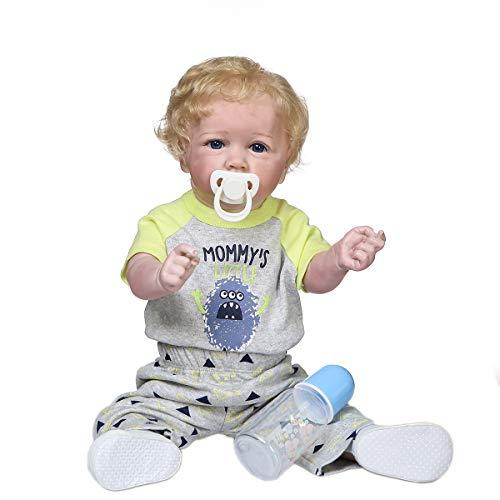 Zero Pam 22 Inch Reborn Baby Doll Boy Blonde Hair 55CM Full Silicone Baby Doll Reborn Dolls Toddler Baby Lifelike Dolls